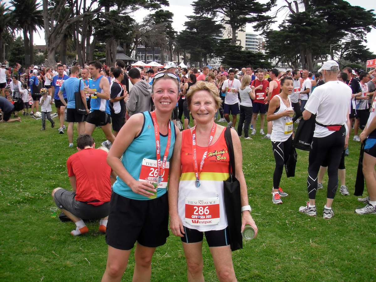 "Kat is pictured with Ann from Hobsons Bay: ""we've been keeping each other going in training and despite not meeting at the start both finished in 74 minutes!"""