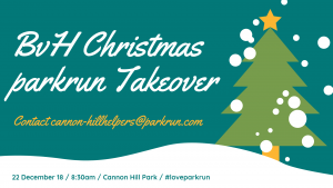 Christmas Parkrun.Cannon Hill Parkrun Takeover 22nd December 2018